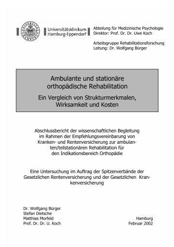 Ambulante und stationäre orthopädische Rehabilitation