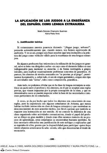 La aplicación de los juegos a la enseñanza del español como ...