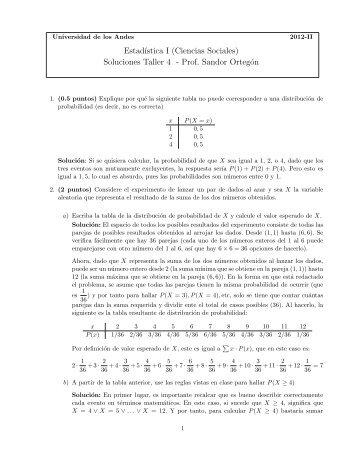 Soluciones Taller 4 - Departamento de Matemáticas, Universidad de ...