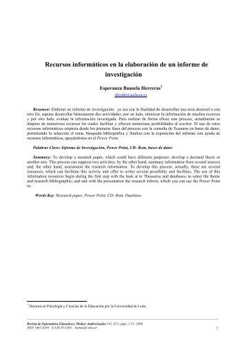 Recursos informáticos en la elaboración de un informe de ...