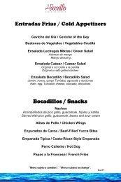 Bocadillos / Snacks Entradas Frias / Cold Appetizers - Hilton ...
