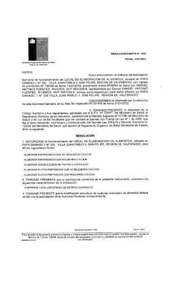 resolución exenta n° 1465 fecha: 31/01/2012 - Seremi de Salud ...