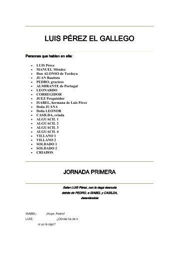 Calderón de la Barca, Pedro - Luís Pérez, el gallego