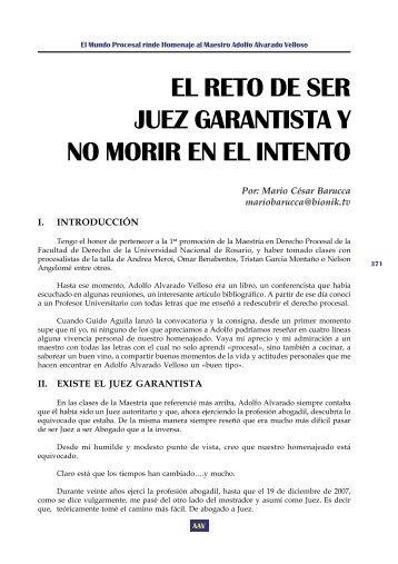 EL RETO DE SER JUEZ GARANTISTA Y NO MORIR EN ... - EGACAL