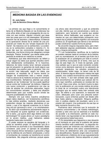 MEDICINA BASADA EN LAS EVIDENCIAS - Hospital Posadas