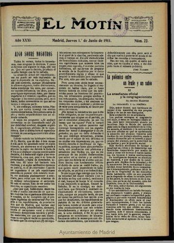 El Motín. 1 de Junio de 1911 - Memoria de Madrid
