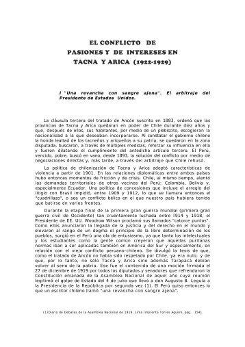 el conflicto de pasiones y de intereses en tacna y arica (1922-1929)
