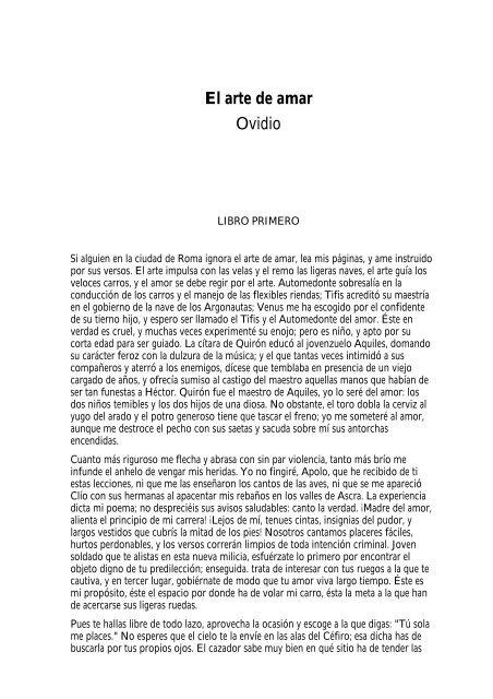 El Arte De Amar Ovidio Elartedepreguntar