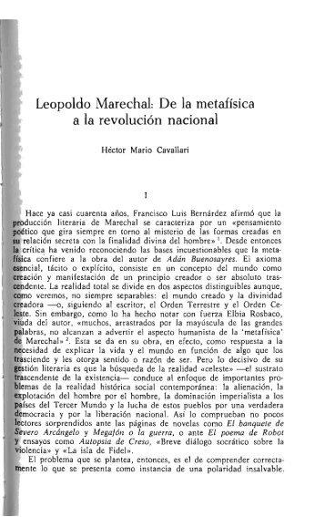 Leopoldo Marechal: De la metafísica a la revolución nacional