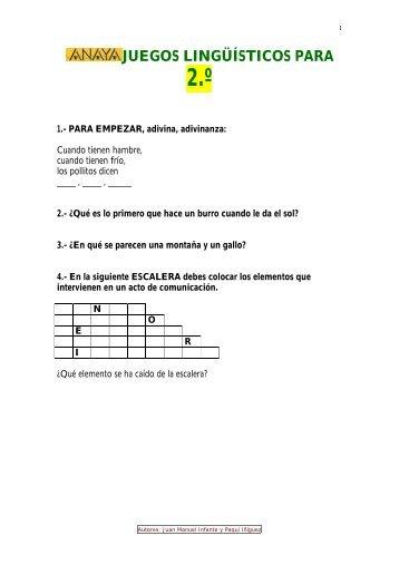 JUEGOS LINGÜÍSTICOS PARA 2.º - Junta de Andalucía