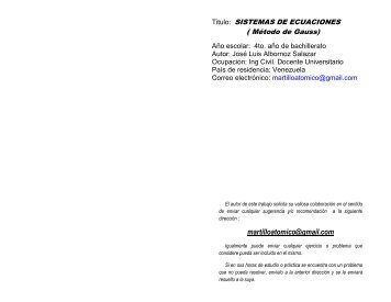 sistemas de 3 ecuaciones (metodo de gauss) - Monografias.com