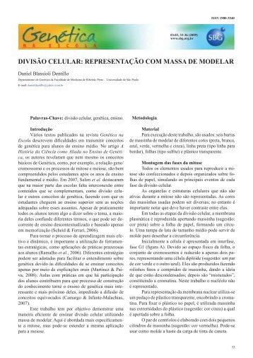 divisão celular: representação com massa de modelar - Genética na ...