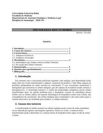 imunologia dos tumores - Faculdade de Medicina da Bahia ...