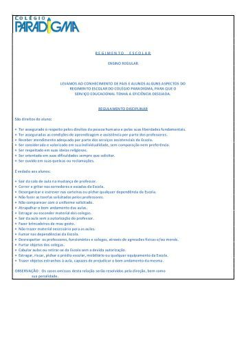 Regimento Escolar - Colegio Paradigma