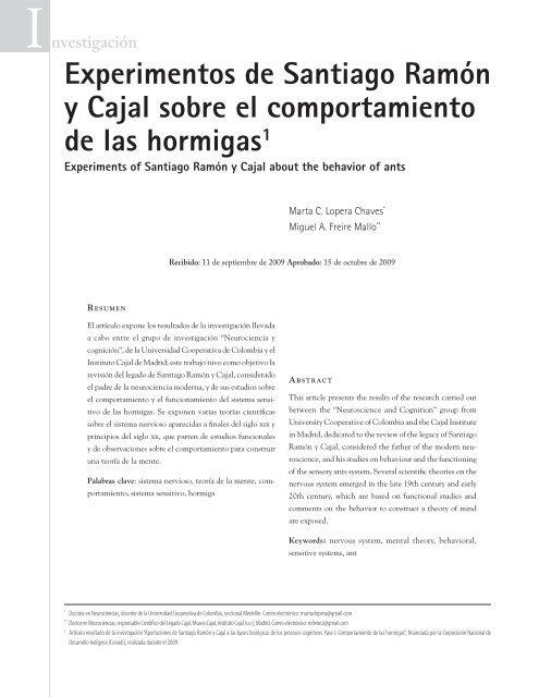 Experimentos De Santiago Ramón Y Cajal Sobre El