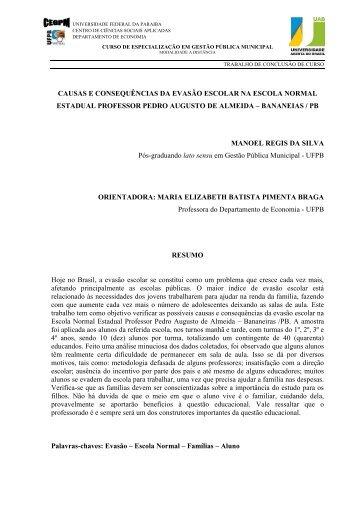 causas e consequências da evasão escolar - UFPB Virtual ...