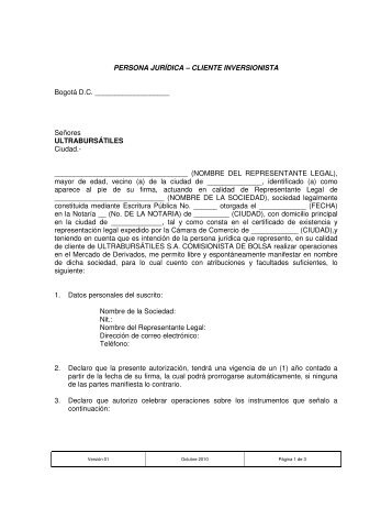Contrato persona jurídica - Cliente inversionista - Ultrabursátiles