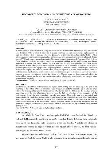 riscos geológicos na cidade histórica de ouro preto - CFH - UFSC