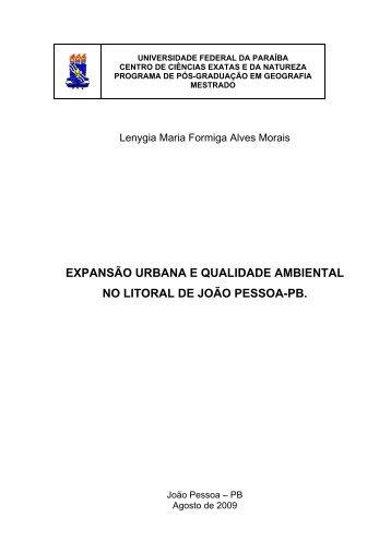 expansão urbana e qualidade ambiental no litoral de joão pessoa-pb.