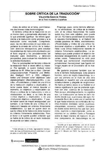 Sobre crítica de la traducción - Centro Virtual Cervantes