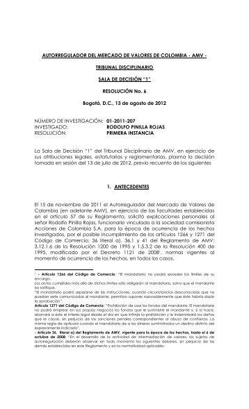"""Resolución No. 06 de la Sala de Decisión """"1"""" - AMV."""