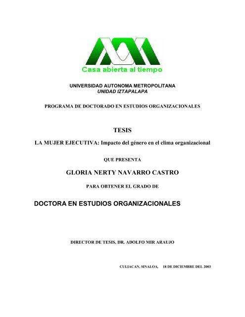 Tesis Gloria Nerty Navarro Castro Doctora En Estudios