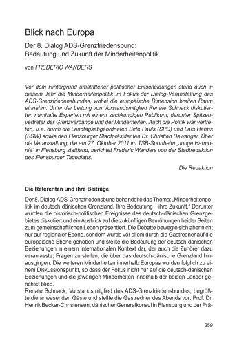 8. Dialog - ADS-Grenzfriedensbund eV, Arbeitsgemeinschaft ...