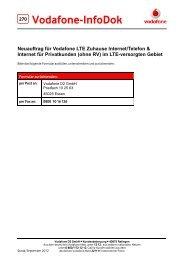 Neuauftrag für Vodafone LTE Zuhause Internet