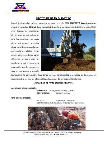 Procedimiento constructivo pilotes preexcavados - Geofortis