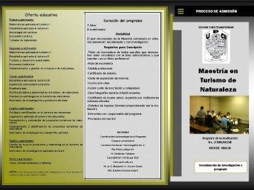 Descargar tríptico Maestría en Turismo de Naturaleza. - UPCH