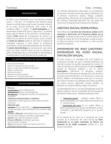 arritmia sinusal respiratoria. enfermedad del seno ... - El Internista