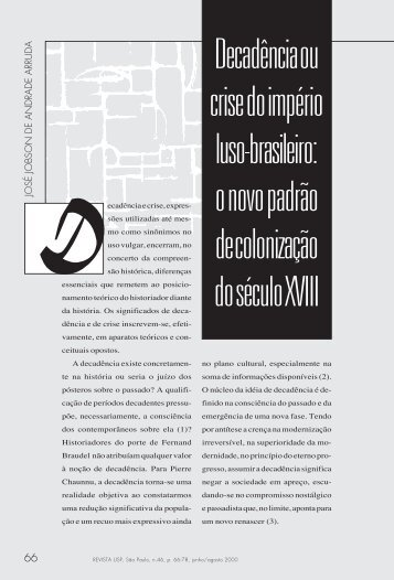 Decadência ou crise do império luso-brasileiro: o novo ... - USP