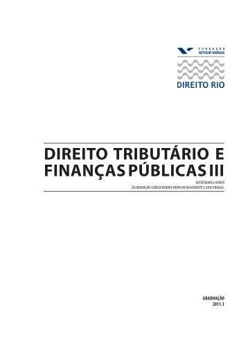 DIREITO TRIBUTÁRIO E FINANÇAS PÚBLICAS III