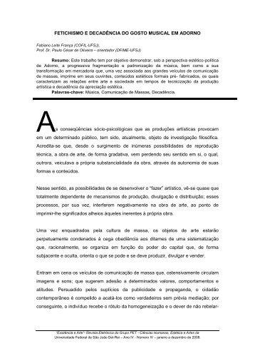 FETICHISMO E DECADÊNCIA DO GOSTO MUSICAL EM ... - UFSJ