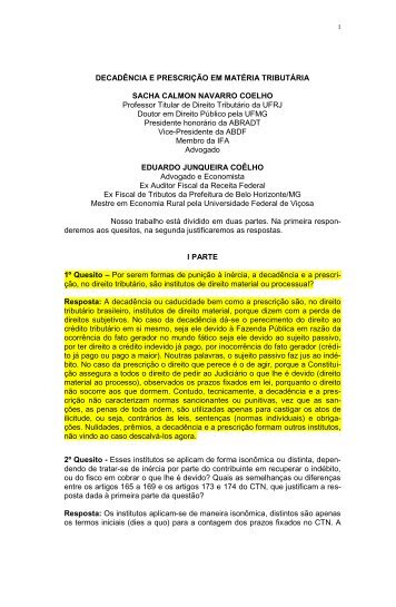 DECADÊNCIA E PRESCRIÇÃO EM MATÉRIA TRIBUTÁRIA SACHA ...