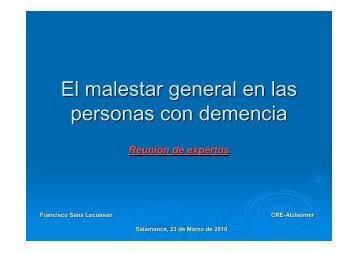 El malestar general en las personas con Demencia - CRE Alzheimer