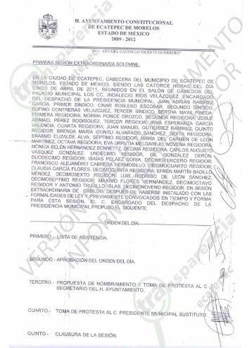 Primera Sesion Extra.. - H. Ayuntamiento de Ecatepec de Morelos