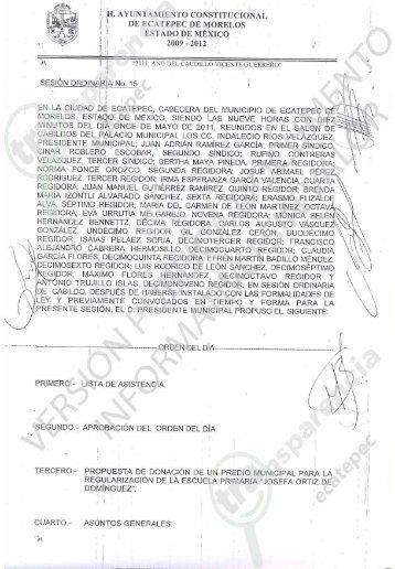 Sesion Ordinaria No... - H. Ayuntamiento de Ecatepec de Morelos