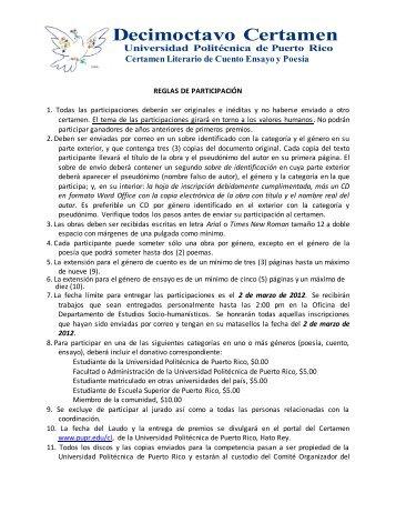 Reglas para Participar - Universidad Politécnica