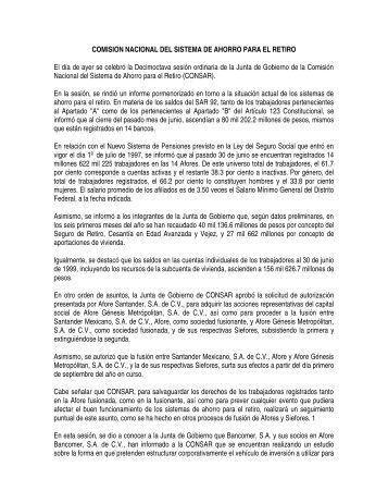 COMISION NACIONAL DEL SISTEMA DE AHORRO PARA ... - Consar