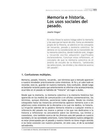 Viegas, Josefa, Memoria e historia. Los usos sociales del pasado