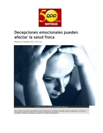Decepciones emocionales pueden afectar la salud física - Sistema ...