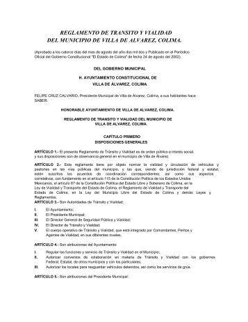 REGLAMENTO DE TRANSITO Y VIALIDAD DEL ... - Villa de Alvarez