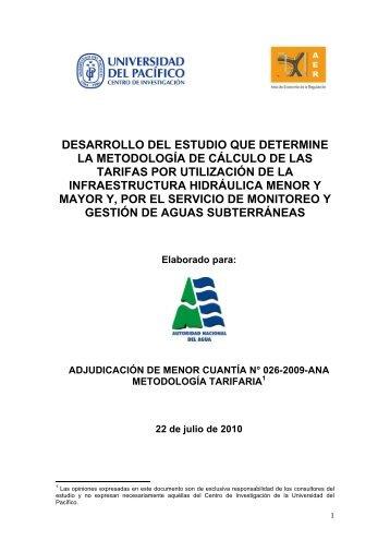 determinación de la tarifa de agua superficial para usos no agrícolas