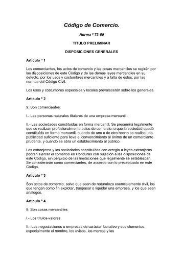 código de comercio hondureño - Academia Notarial Americana