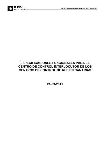 Especificaciones para la conexión de centros de control de ...