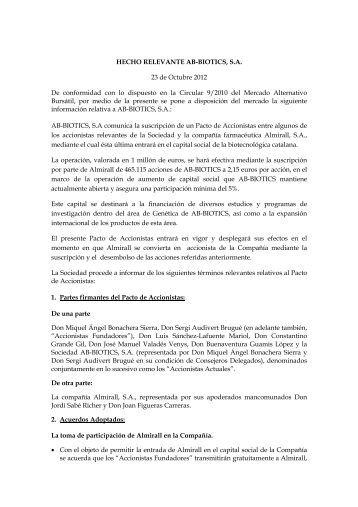 Pacto entre accionistas de la - Bolsas y Mercados Españoles