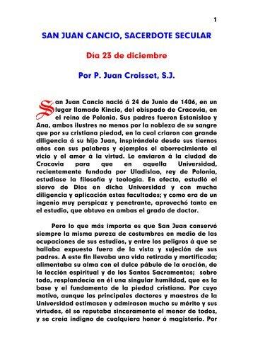 SAN JUAN CANCIO, SACERDOTE SECULAR Día 23 de diciembre ...