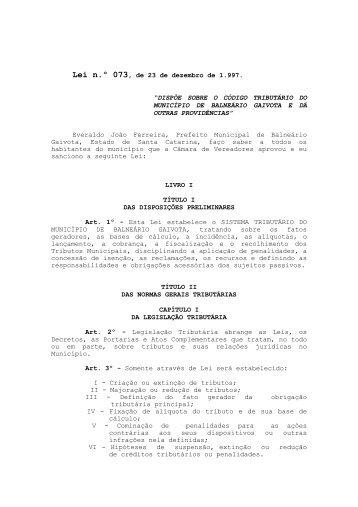 Projeto de Lei nº - Câmara Municipal de Vereadores de Balneário ...