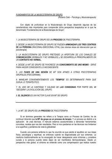 FUNDAMENTOS DE LA MUSICOTERAPIA DE GRUPO (Roberto ...